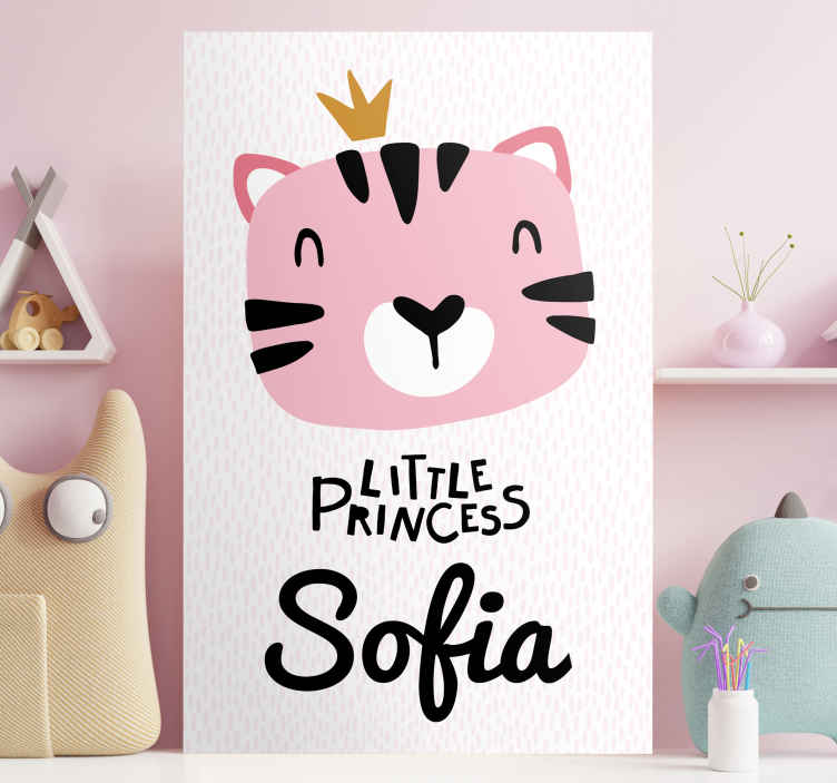 TenStickers. bebe gato estilo nordico con nobre wall pictures for nursery. Adorable animal themed customisable canvas print perfect for a little girl's nursery! We have +10,000 satisfied customers.