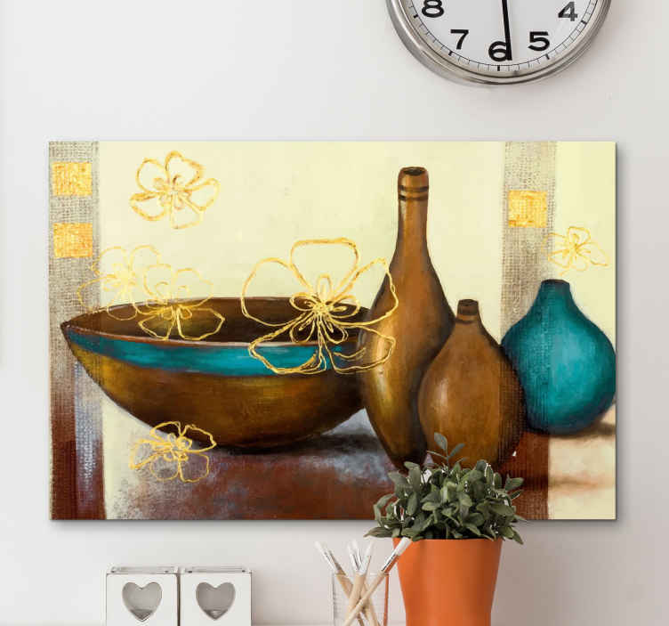 TenStickers. Brown and Turquoise Baroque canvas art. A wonderful painting look ceramic jar canvas art that will look incredible in your home. Over 10,000 satisfied customers.