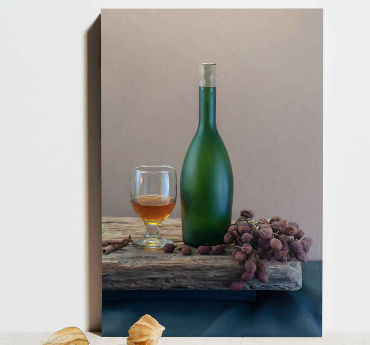 TenStickers. Wine and cup  fruit canvas art. An amazing realistic wine canvas print to adorn your home with. With over 10,000 satisfied customers you are in safe hands.