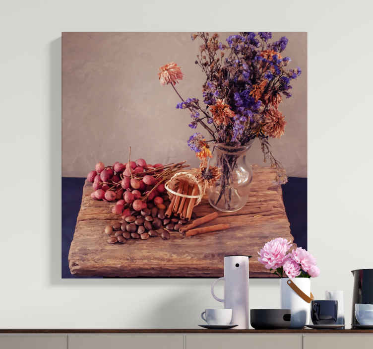 TenStickers. Flowers and Grapes fruit canvas art. This very realistic floral canvas wall art will add so much character to your home. We have over 10,000 satisfied customers.