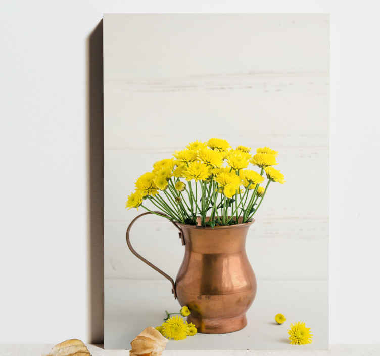 TenStickers. Jug with Yellow Flowers canvas art. A beautiful floral canvas print that will brighten up the walls of your home. Choose the size and finish that you prefer the most.