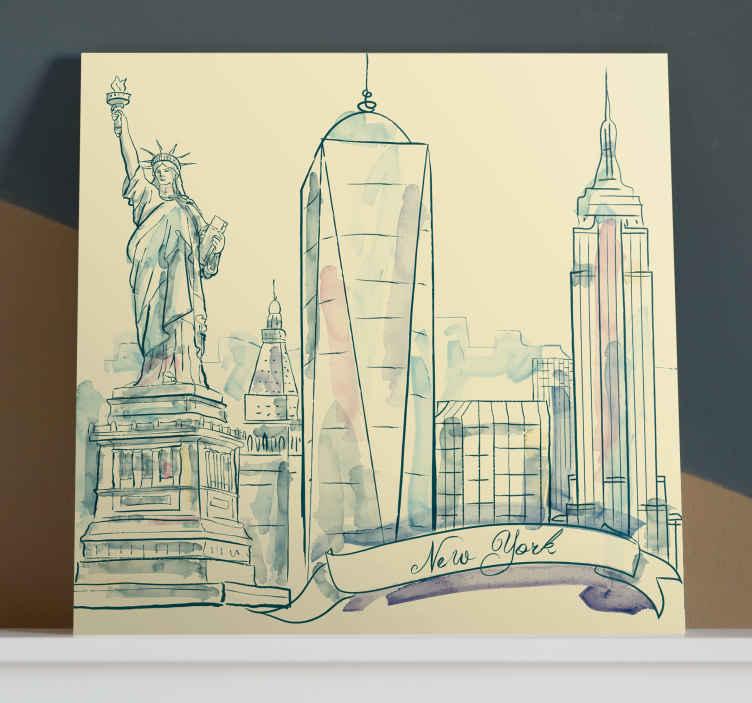 TenStickers. Ciudades 뉴욕 estatua de la libertad 도시 스카이 라인 인쇄. 독특한 뉴욕시의 캔버스에 매료 되세요! 이 화려한 뉴욕시의 캔버스로 당신의 집은 멋지게 보일 것입니다!