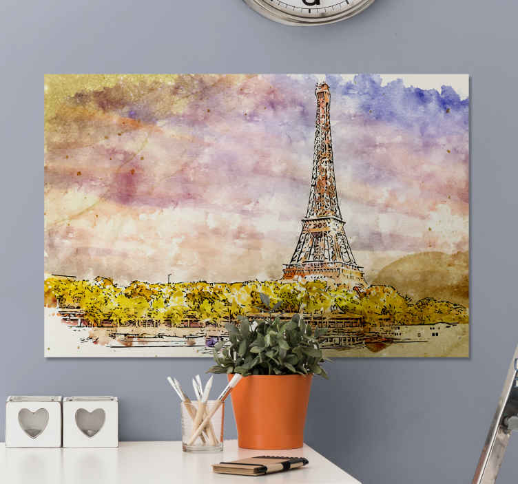TenStickers. Ciudades atardecer en París City skyline prints. This canvas is made for you! Thanks to this canvas of the splendid city of Paris, your home will look great in your home!