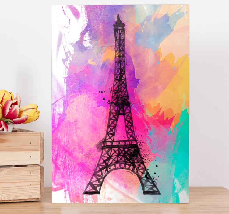 TenStickers. 巴黎埃菲尔铁塔多彩城市天际线打印. 巴黎绘画埃菲尔铁塔地标性的帆布墙印花,可增添您的房屋,办公室,客厅,客人空间,休息室等的装饰。