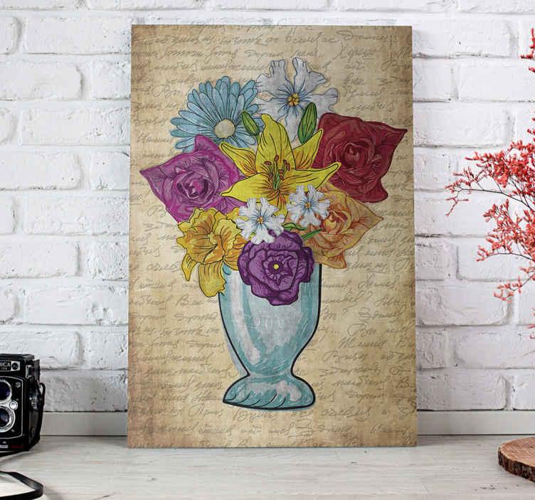 TenStickers. Elegante bloemen vaas canvas schilderen. Super verbazingwekkende elegante bloemen canvas schilderij die zoveel karakter aan uw huis zal toevoegen. Veel kortingen online beschikbaar.