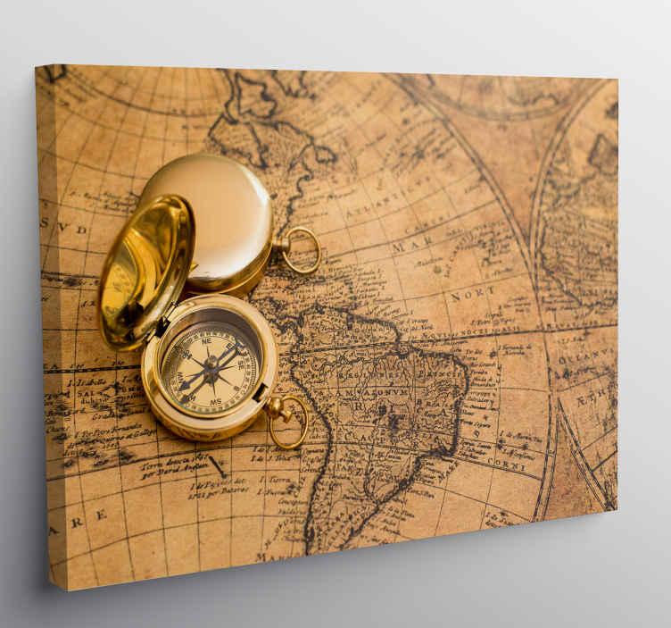 TenStickers. Canvas schilderen bruine wereldkaart en kompas . Een prachtig vintage wereldkaart canvas schilderij om in uw huis op te hangen. Meld u online aan voor 10% korting op uw eerste bestelling bij ons.
