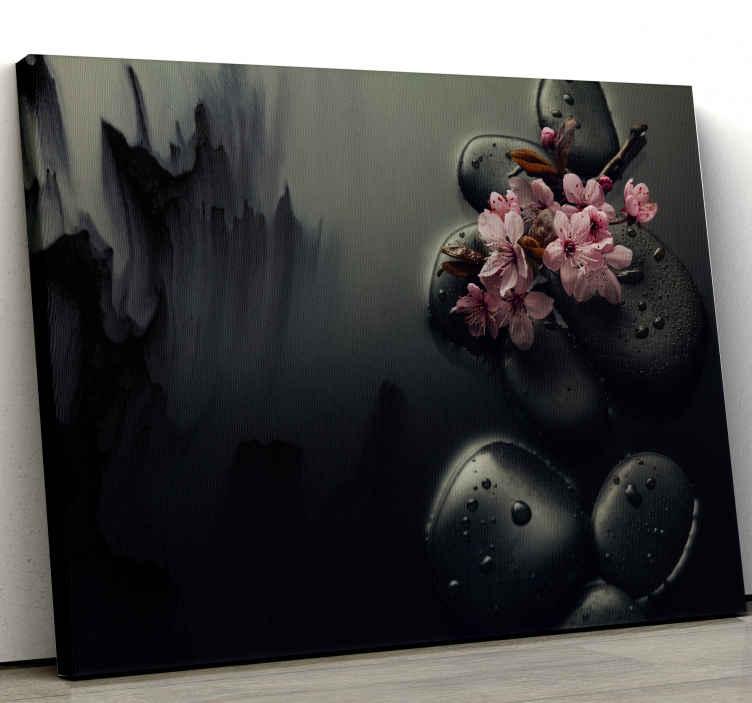 TenStickers. Quadro elegante Eleganti fiori di pietre zen. Questa splendida tela da parete moderna ed elegante ti porterà il vero zen. Registrati oggi per uno sconto del 10% sul tuo primo ordine.
