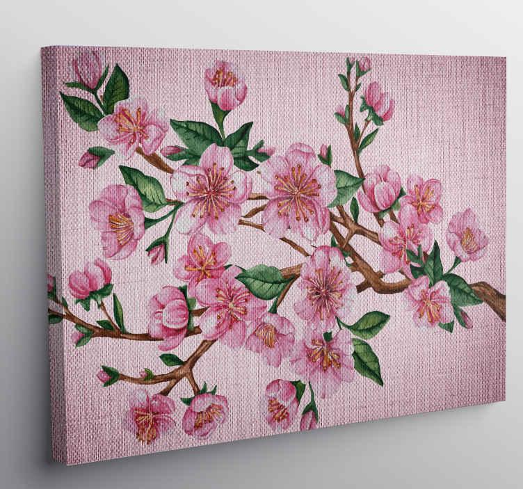 TenStickers. Canvas schilderen boomtak roze bloemen. Roze bloem boomtak canvas schilder met een mooie afbeelding van een boomtak bedekt met een prachtige roze bloemen en bladeren.