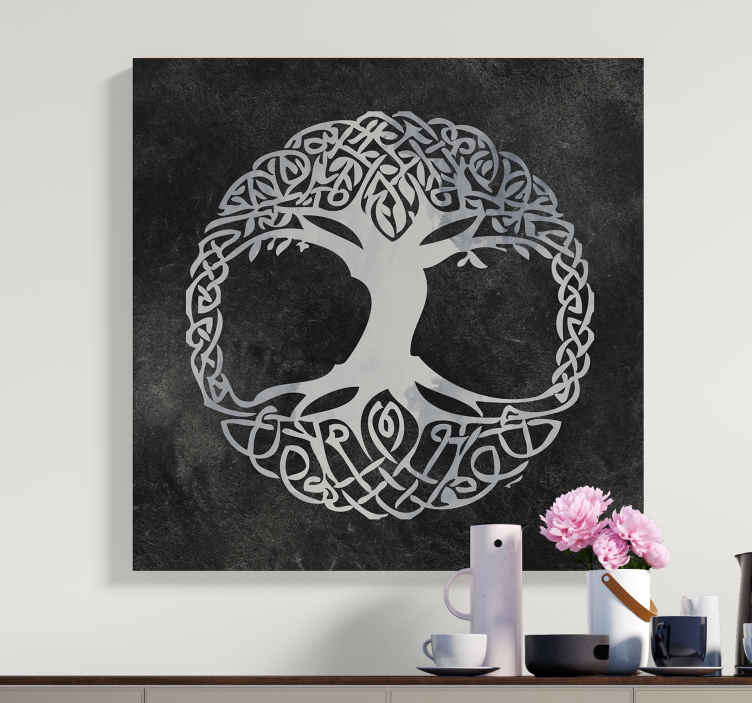 TenStickers. Black and white Tree of Life canvas print. Tree of life canvas which features a stunning image of a tree with intricate branches all interconnecting. High quality.