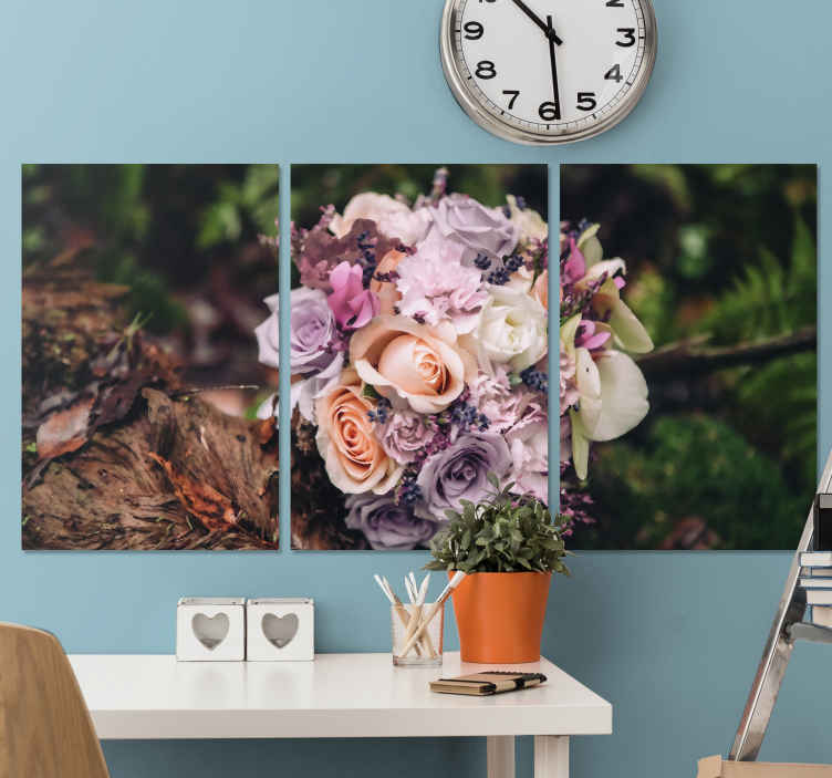 TenStickers. Rose Bouquet wall prints. Flower canvas art which features a stunning image of a bouquet of roses in the middle of a forest. High quality materials.