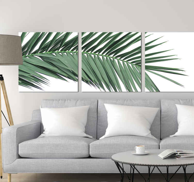 TenStickers. Tropical Plant Leaf wall prints. Plant wall canvas which features an image of a tropical branch with leaves with a white background. Sign up for 10% off.