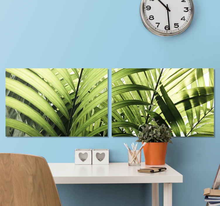 TenStickers. Quadro con piante Trittico piante foglie della giungla. Una serie di quadri da parete su tela con piante della giungla. Questa bellissima tela illustrativa con foglie tropicali è adatta per decorare qualsiasi spazio della casa e dell'ufficio.