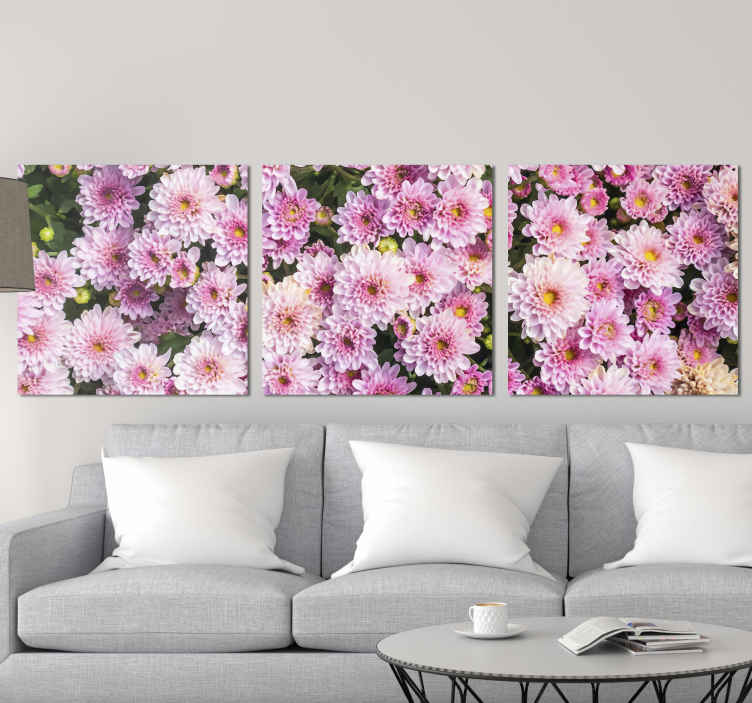 TenStickers. Pink Flower field canvas. Pink flower canvas print which  features a lovely image of a field of pink flowers. Sign up for 10% off. High quality materials.
