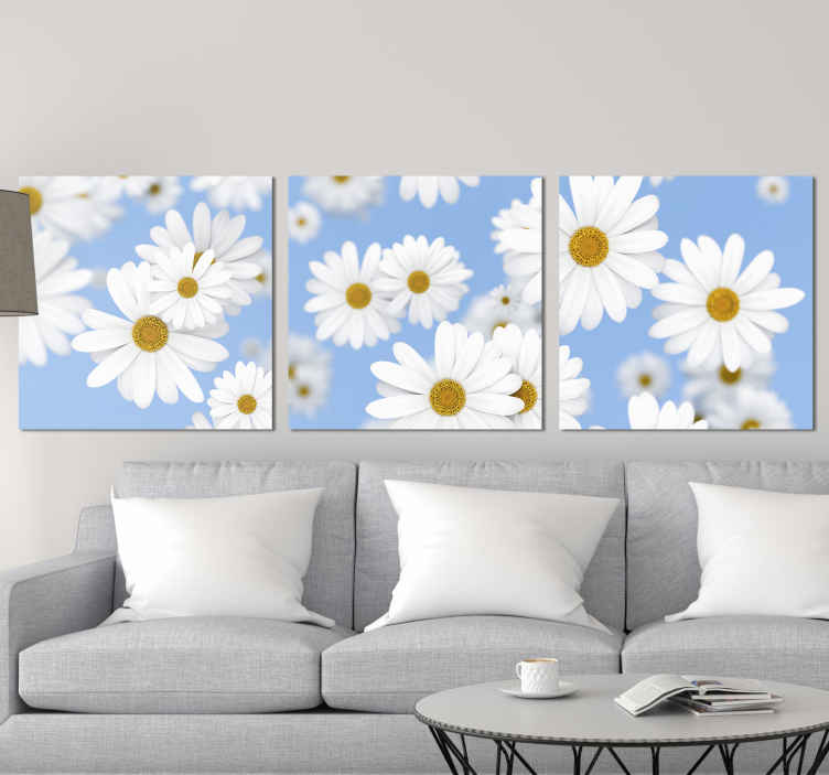 TenStickers. 3D Daisy floral canvas. Daisy canvas print which features a lovely pattern of daisies which have an amazing 3D effect. Choose your size. High quality.