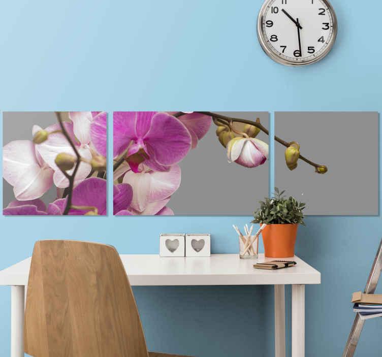 TenStickers. Lila orchidea virágvászon. Orchidea vászonkép, amely közeli képet mutat egy lila és fehér orchidea szürke háttérrel. +10 000 elégedett ügyfél.