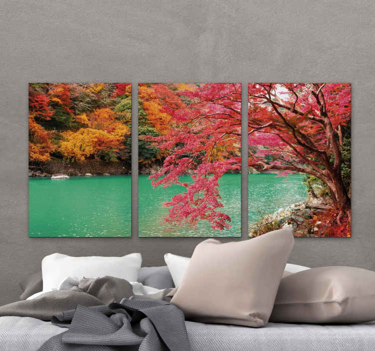 TenStickers. Forest evening sun and lake Tree canvas print. Time to create a lovely and colorful nature presence on your home with this forest lake with tree art canvas. Printed with high quality finish.