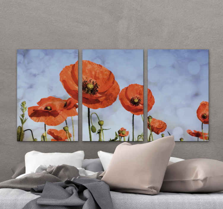TenStickers. Poppy flower floral canvas. One simple but amazing Poppy flower canvas print. Just suitable and fitting for a living room and office. It is printed in high quality finish.