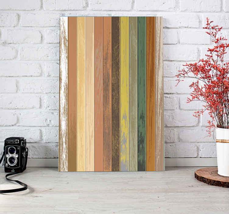 TenStickers. Modern rustic rustic canvas wall art. Modern rustic rustic canvas art with design texture imitating different wood colours in vertical lines. It is printed in high quality finish.