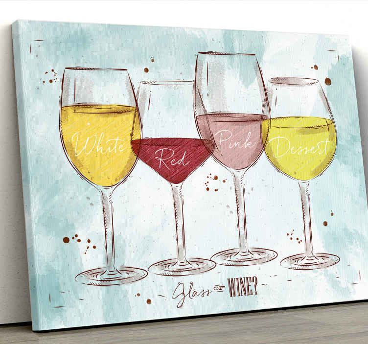 TenStickers. rustico vino rustic canvas wall art. Canvas print with wines. The pattern shows four different wine glasses on a bright blue basket. Perfect decoration for your salon or restaurant.