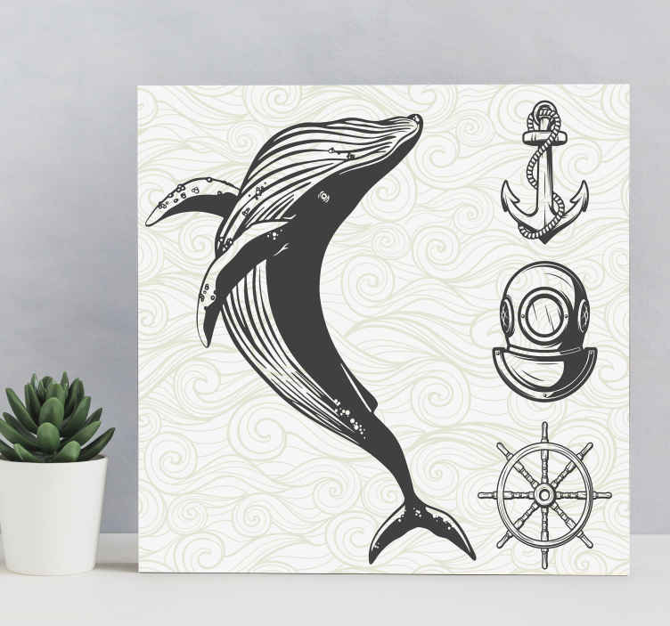 TenStickers. Nautical rustic canvas wall art. Canvas print with a whale. The pattern presents a whale and marinistic items. Made of high quality materials. Easy to hang on a wall.