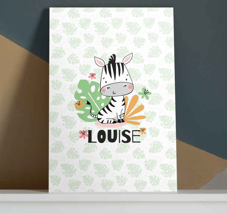 TenStickers. Beautiful Zebra for kids personalised canvas print. This animal canvas print can be personalised with a chosen name. An adorable way to make your kids room a special and original space for them.