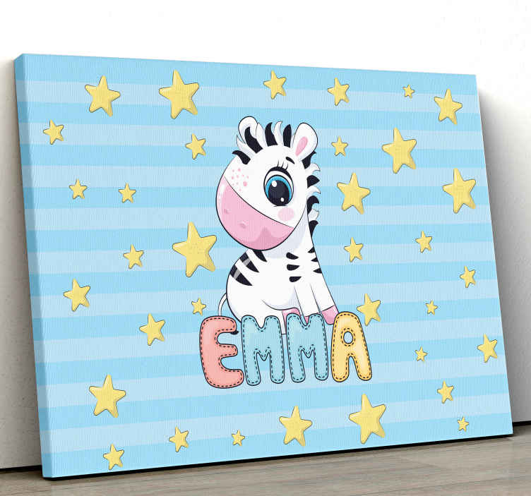 TenStickers. Cute Zebra and Stars with Name canvas prints. Zebra canvas print which features an adorable image of a baby zebra surrounded by stars with your child's name underneath. Sign up for 10% off.