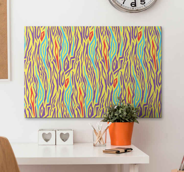 TenStickers. 빈티지 컬러 얼룩말 캔버스 프린트. 노란색, 녹색, 보라색 및 빨간색의 멋진 음영의 지브라 패턴이 특징 인 지브라 캔버스 프린트. 고품질 재료.
