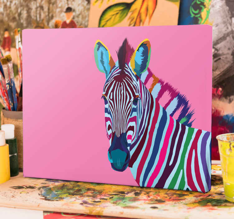 TenStickers. Rainbow Zebra canvas prints. Zebra canvas design which features an image of a zebra in wonderfully bright shades with a pink background. Available in various sizes.