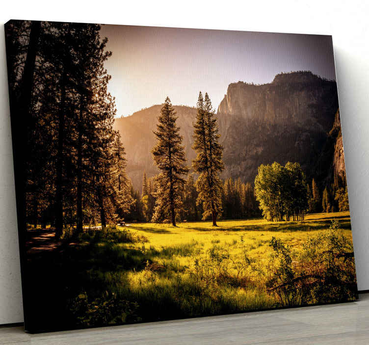 TenStickers. Mountain view sun grass landscape wall art. Beautiful view of  mountains, sun grass landscape canvas. You can decorate any part of your home with this peaceful nature home canvas design.