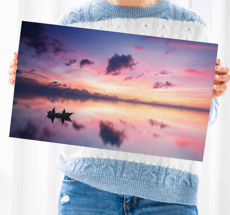 TenStickers. Lake sunset landscape wall art. High quality home canvas print hosting design of a lake side at sunset. You can see people peddling on canoe on the lake.