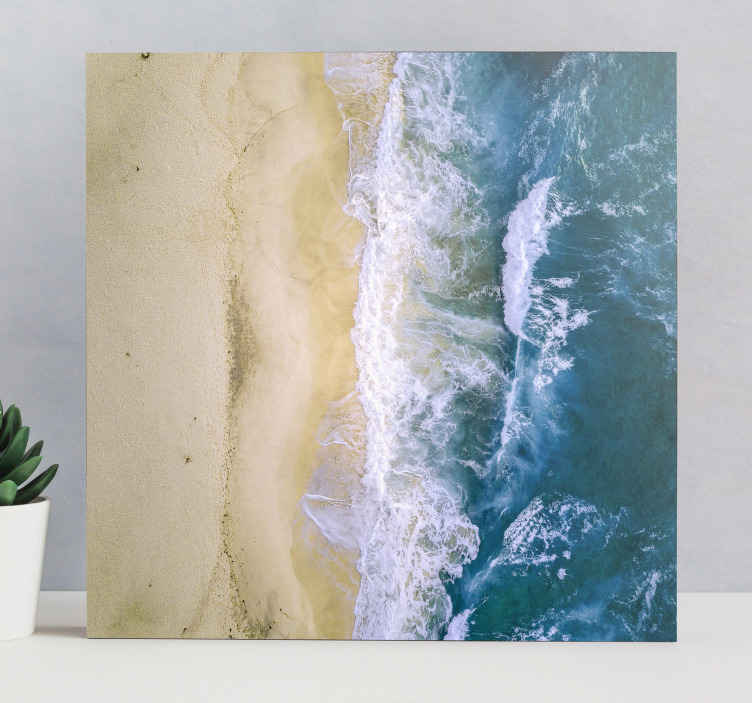 TenStickers. Tengeri homok kék táj fal művészet. Minden vendége csodálkozni fog, és büszkén mutathatja be új dekorációját, amelyet mindenki irigyelni fog.