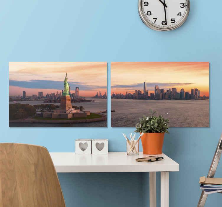 TenStickers. 纽约主卧室帆布墙艺术. 美丽的纽约城市天际线画布分为两个画布,用于美化房屋,办公室,休息室,访客房间,企业,空间等。
