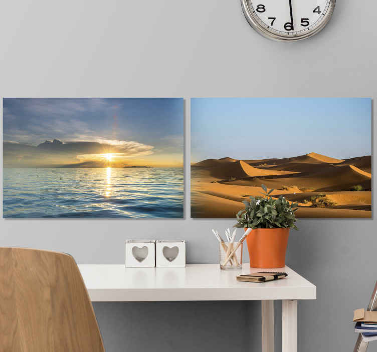 TenStickers. Opposite landscapes Master bedroom canvas wall art. A double modern canvas art print with different landscape designs, one is representing a desert sand dune and the other a sea with sun setting.