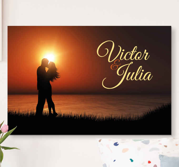 TenStickers. Loving landscape Master bedroom canvas wall art. Customize your own text on our original personalized home canvas art with design silhouette of couple on an amazing landscape.
