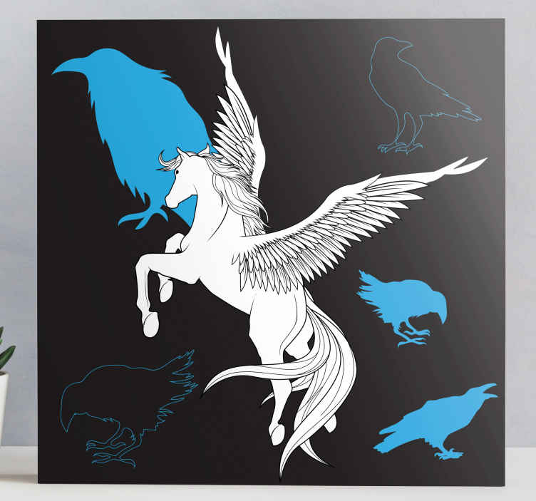 TenStickers. Pegasus and crows canvas print. Pegasus canvas print which features an amazing picture of a winged horse with images of crows next to it. Easy to apply.