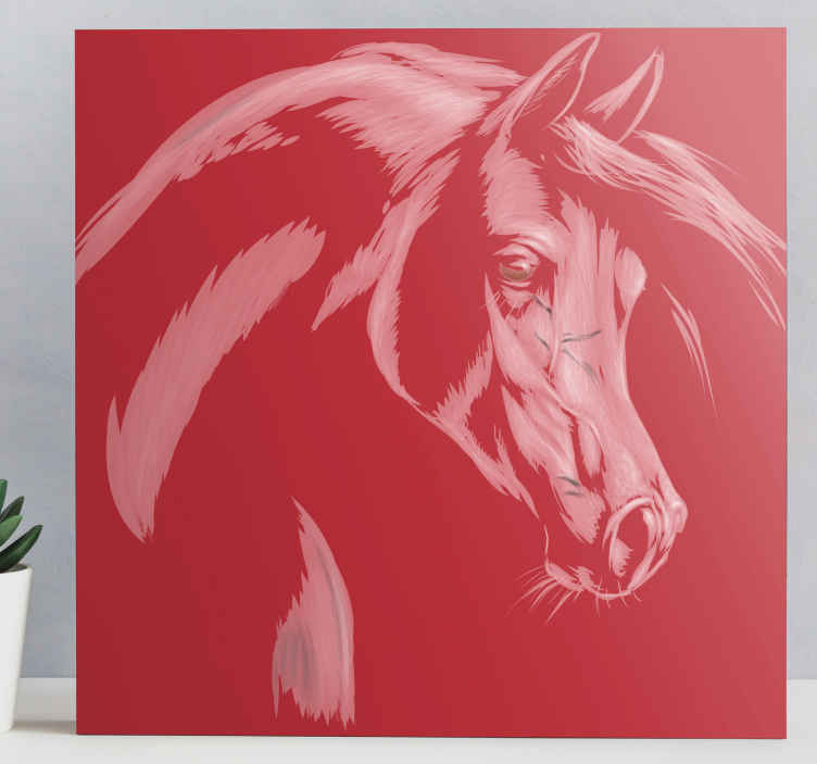TenStickers. Vörös hangú lóvászon képek. Lóvászon, amelyen ló csodálatos képe látható vörös színnel, piros háttérrel. Regisztráljon most 10% kedvezményre.
