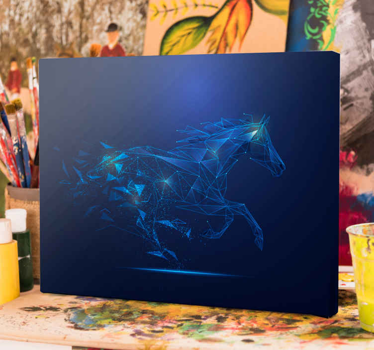 TenStickers. Blue geometric horse canvas print. Horse canvas which  features an image of a blue horse running with triangles coming off its back. Extremely long-lasting material.
