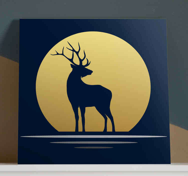 TenStickers. Stag in the moonlight canvas prints. Stag canvas print which  features an image of a majestic stag with a gold moon behind it. Discounts available. High quality.