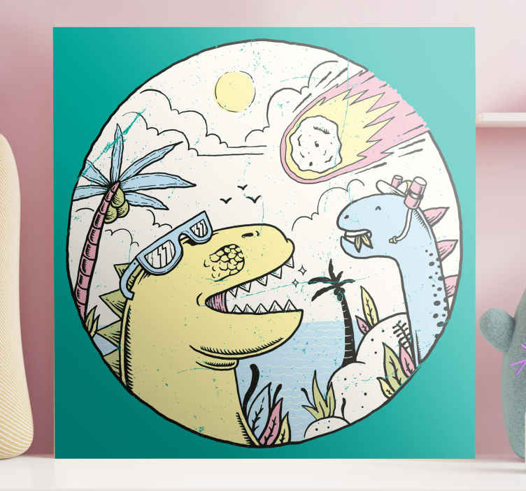 TenStickers. Dinosaurs falling meteorite wall art. Illustrative drawing canvas of dinosaur with falling meteorite. Suitable and perfect for any space in a house and for an office space.