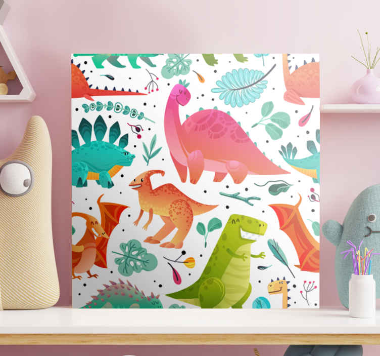 TenStickers. Happy dinosaurs for kids wall art. Different colour dinosaur illustration canvas art for children. You can decorate the room of your kid with this canvas and he would be happy with you.