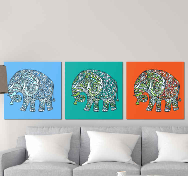 TenStickers. Triptych multicolor mandala elephant canvas art. A collection of  different elephant canvas art print to beautify your home with a touch of ethical art effect. It is durable and ready to hang.