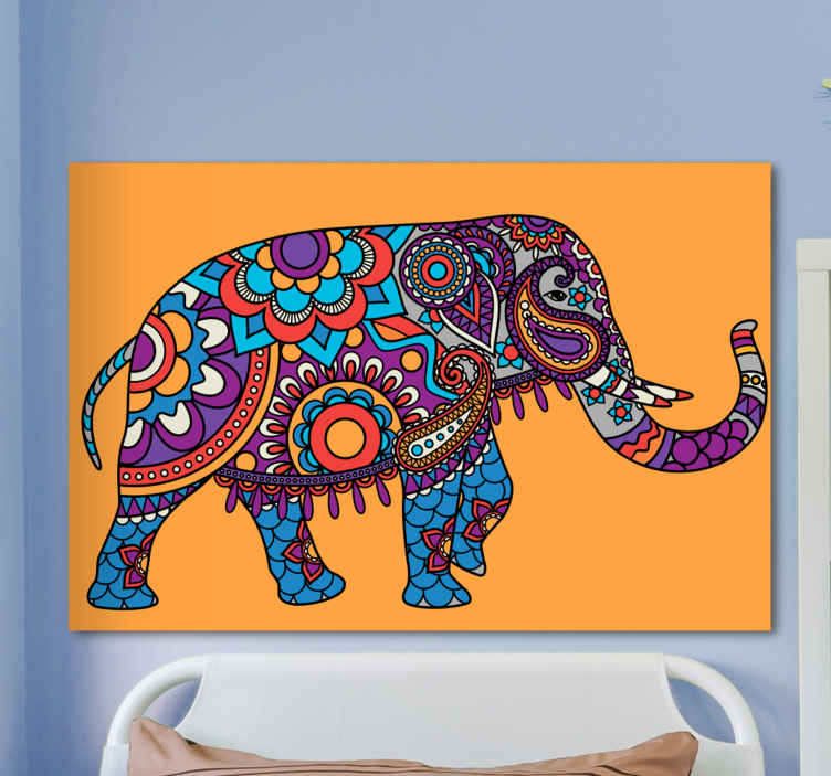 TenStickers. Multicolored mandala elephants walking canvas art. If you love ethical art designs then you would sure appreciate this multicolored mandala elephants canvas for your space.