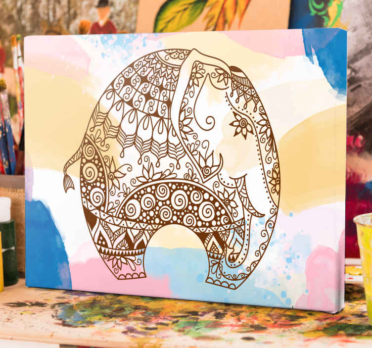 TenStickers. Multicolored flower mandala elephants canvas art. Lovely ornamental mandala elephant portrait canvas art with a splash water colour background. It is original, easy to hang and durable.
