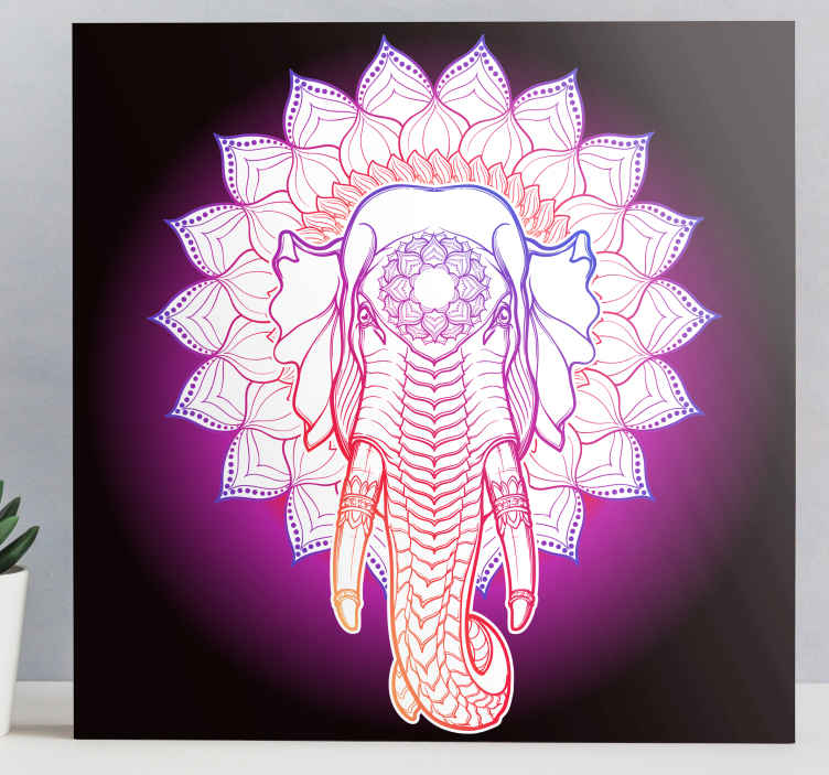 TenStickers. Multicolored mandala elephants canvas art. Tribal mandala element canvas wall print for people who love ethical and traditionally inspired designs. It is durable, resistant to light reflection.