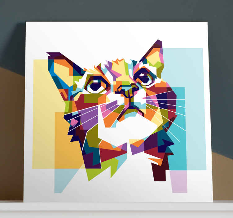 TenStickers. Geometric cat wall art canvas. Cat canvas print which features an amazing image of a cat created from geometric shapes in various colours. Choose your size.