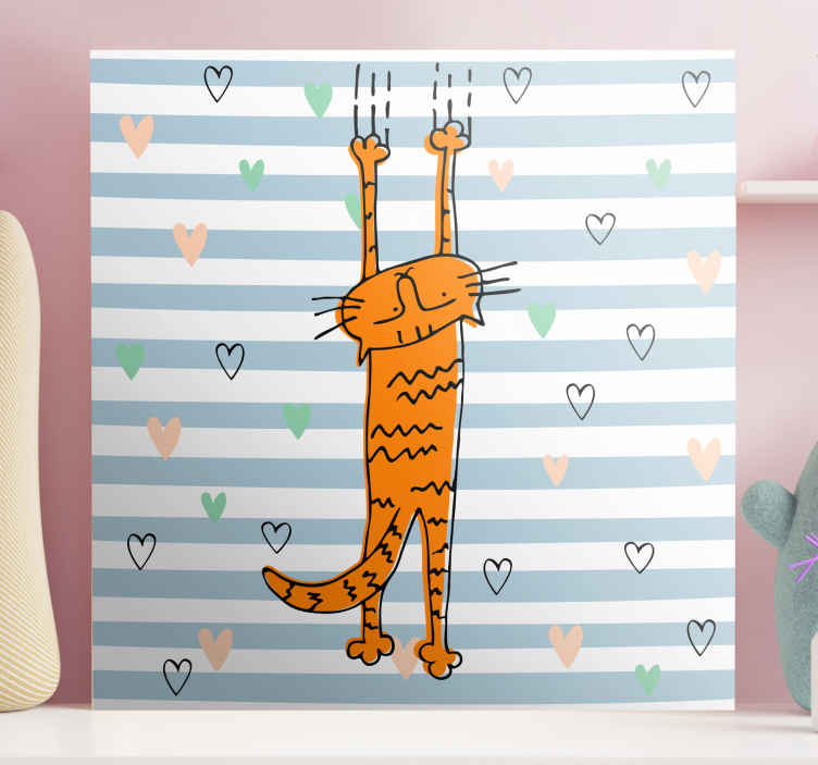 TenStickers. Cartoon Cat with Hearts wall art canvas. Cat canvas print which features an adorable image of a cartoon cat scratching a wall surrounded by hearts. Choose your size.