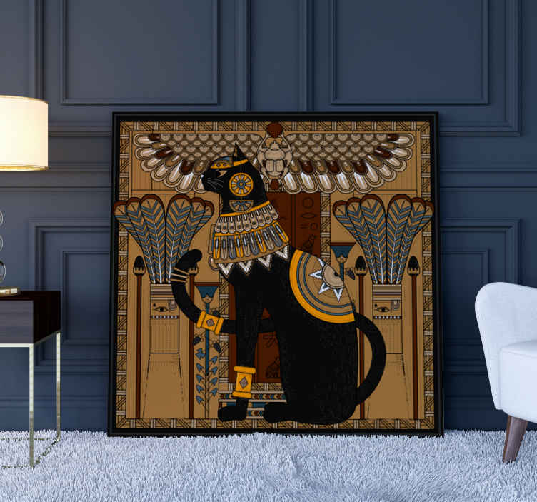 TenStickers. Egyptian Cat wall art canvas. Cat canvas print which features a beautiful image of a cat in the style of Ancient Egyptian art. High quality materials.