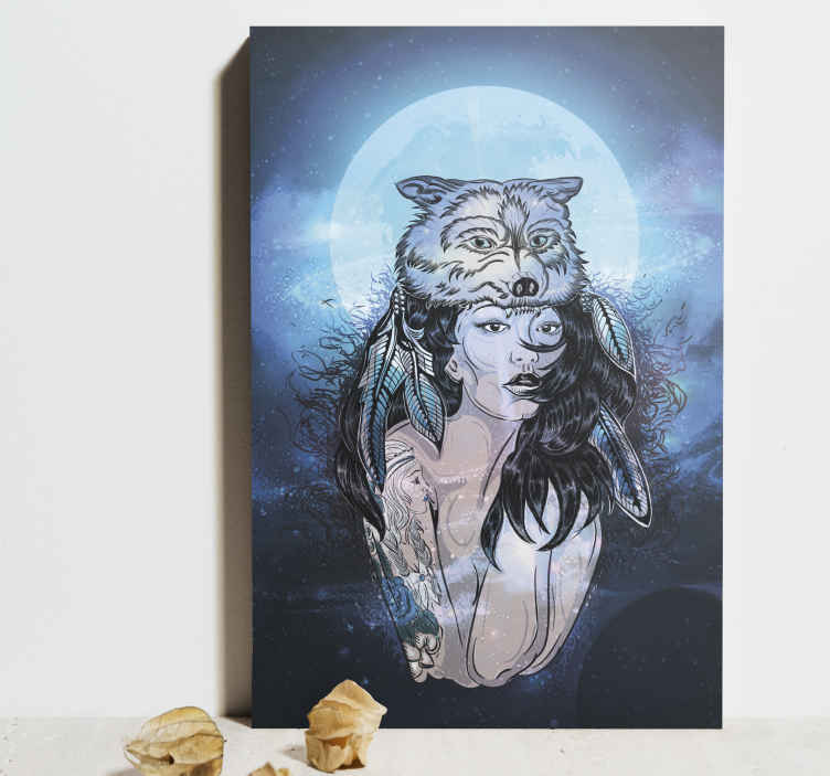 TenStickers. Wolf moon woman vintage wall prints. Home canvas print with the illustration of a woman with the image of a wolf, in the middle of a blue night in a forest, perfect  to decorate your home.