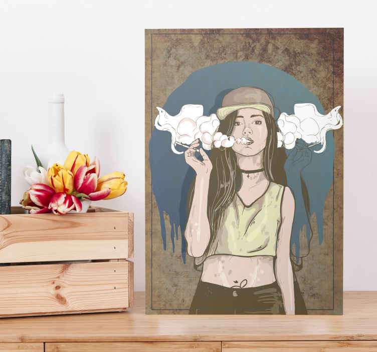 TenStickers. Surreal smoke canvas art. This cool, hippy smoking girl canvas print is a piece of art that will fit well on any wall of your home. Perfect as a gift! Home delivery available.