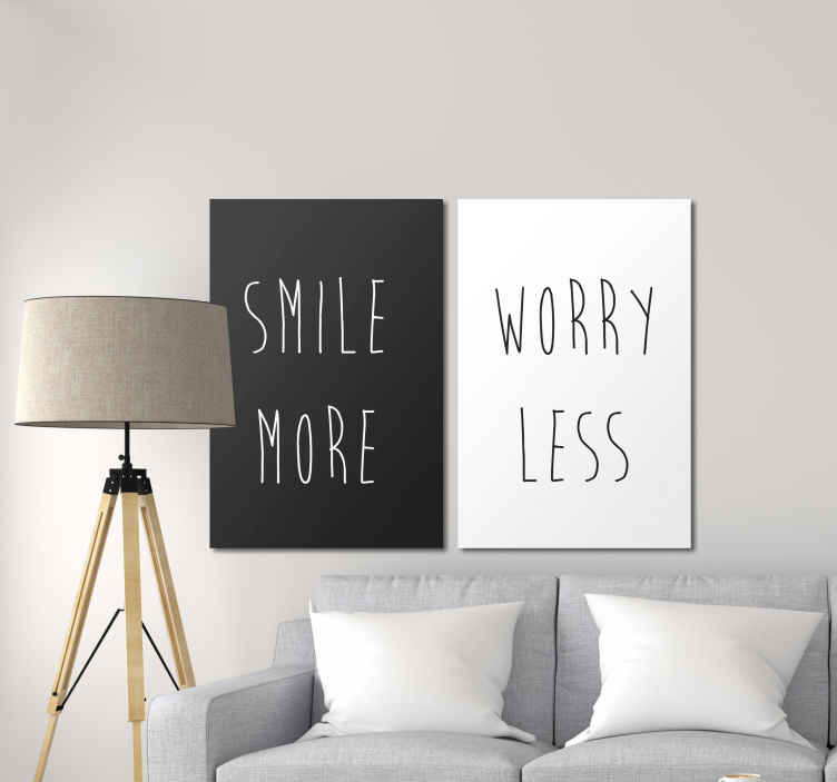 TenStickers. Smile more, worry less inspirational canvas. Smile more, worry less motivational quote canvas print - This quote would always remind you to leave you worries behind and use more of your smile.
